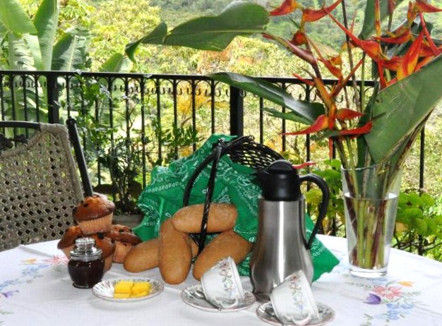 free Breakfast basket at Tinamou Cottage deluxe Jungle lodge, Boquete Panama